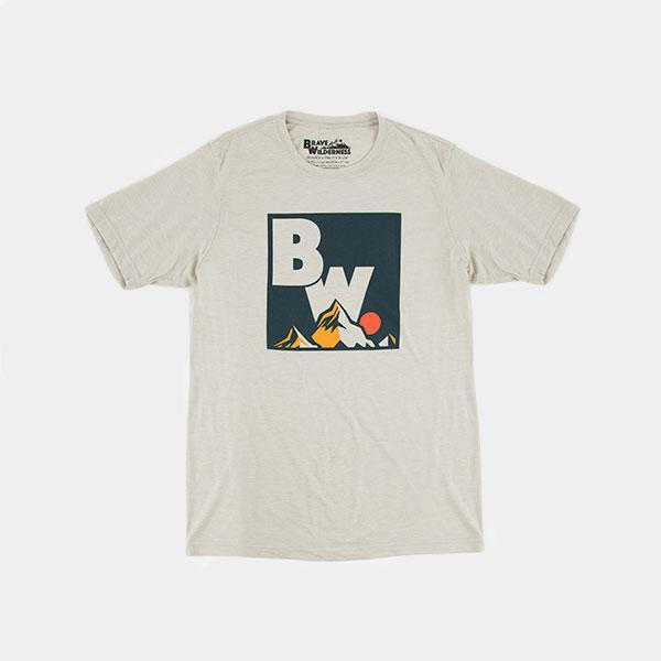 Brave Wilderness square logo shirt in light silver backside