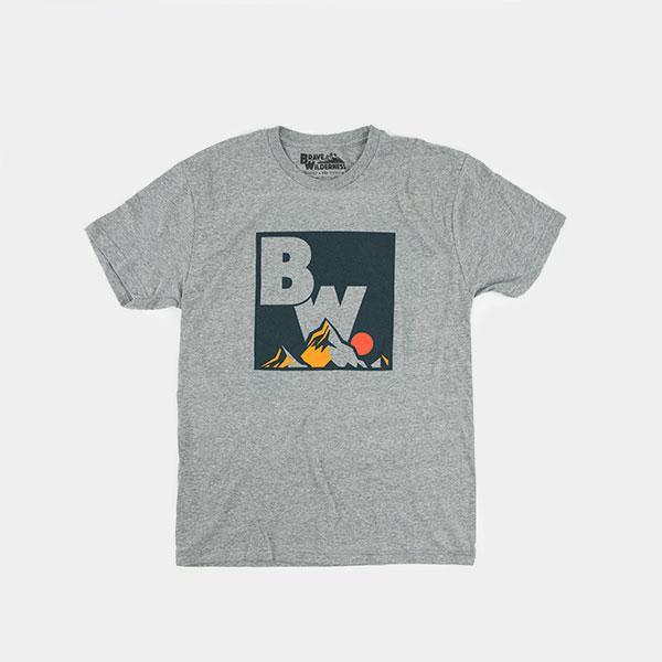 Brave Wilderness square logo shirt in gray backside